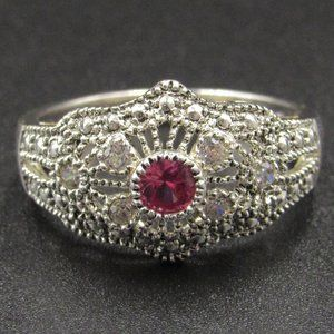 Size 7 Sterling Ruby & CZ Diamond Ornate Band Ring